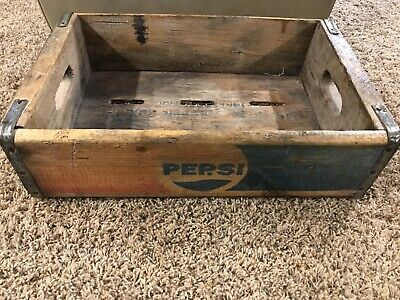 Vintage Pepsi-Cola Advertising Wooden Soda Pop Case Crate Box Waterloo IA Iowa