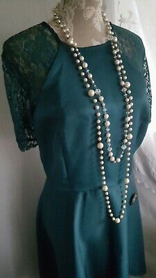 Vtg 1920,s 30's style Gatsby Downton teal green lace wedding dress size 20 uk