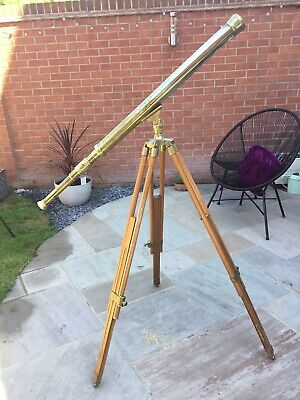 Vintage Brass Telescope And Wood Stand Tripod