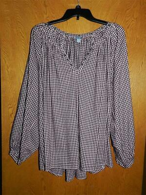AERIE Pink Burgundy PLAID Oversized BLOUSE Shirt TOP XL NEW