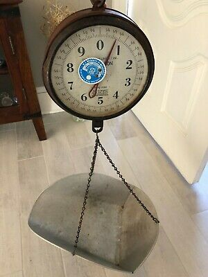 Vintage Chatillon 10 lbs Hanging Scale W/ Scoop Pan Type-720