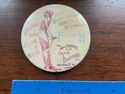 Victorian Risque Celluloid Pocket Advertising Mirror Crown Perfume Co. London