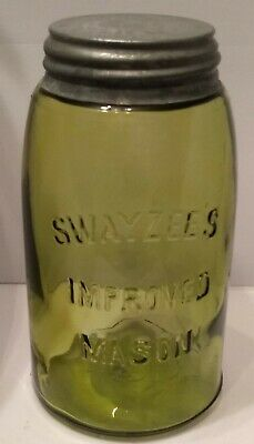 RARE! SWAYZEE'S YELLOW OLIVE IMPROVED MASON SHOULDER SEAL QT. JAR RedBk #2780-1