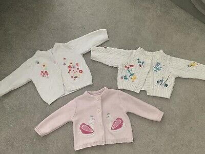 Baby Girls 3-6 Months Cardigan Bundle x 3 M&S Nutmeg Debenhams