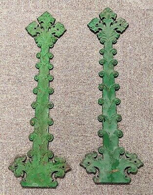 "Antique Y&T York & Towne RARE Pair Gothic Strap Hinges Cast Iron 27"" x 9-1/4"""