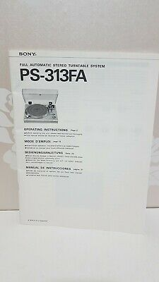 Sony PS-313FA Operating Instructions