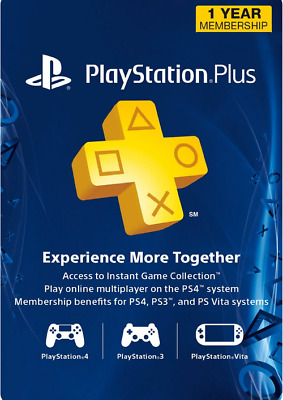 Sony PlayStation Plus 1 Year/12 Month Membership ⚡ Subscription Card USA ⚡