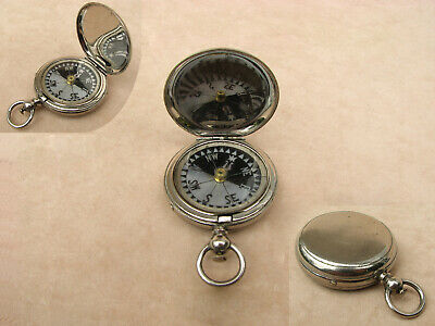 19th century pocket compass with Singers Patent mother of pearl dial