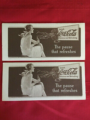 1931 Coca Cola Ink Blotters Pause that Refreshes Lot of 2
