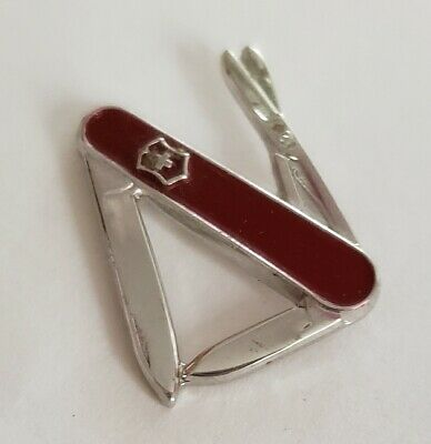 Miniature Victorinox Swiss Army Knife lapel pin Vintage Collectible 70's 80's