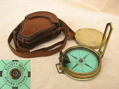 Mid 19th century prismatic sighting compass in case by Elliott Brothers, London