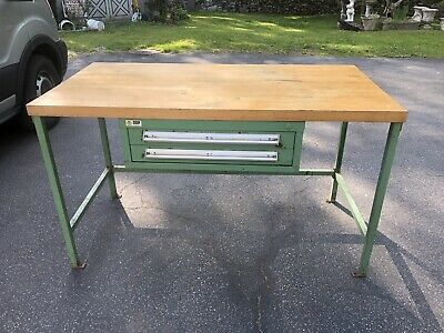Stanley Vidmar 5' Industrial Workbench w/ Butcher Block top & 2 Drawers