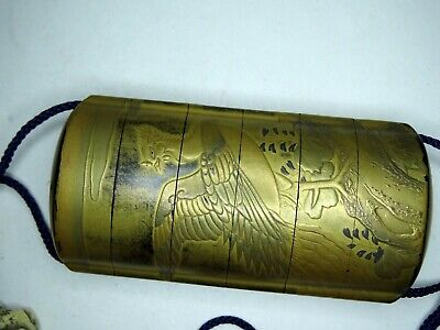 Antique Japanese Inro Gold Lacquer w/ Landscape and Bird incl netsuke,& ojime