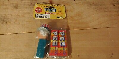 Pez Uncle Sam Keychain - Bagged In Package Rare 1998 New Blue No Feet