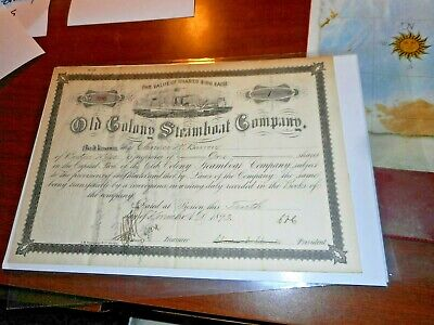 Old Colony Steamboat Company Stock Certificate 1893