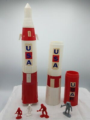 Vintage 60's Processed Plastic USA Apollo Space Ship Rockets, Astronauts LOT