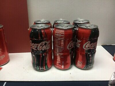 RARE 6 PACK OF FULL 1996 TEST MARKET COCA-COLA CONTOUR 12 Oz CANS - NEAR MINT
