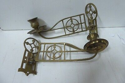 Pair Of Antique Brass Candle Wall Sconces Lights Victorian C&A Regd. 60535