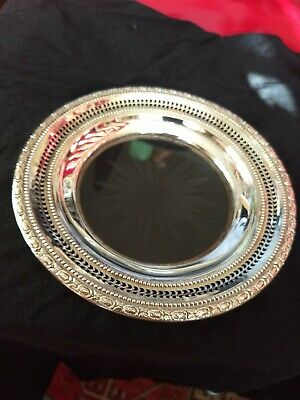 Frank M. Whiting Sterling Silver Cut Crystal Wine Bottle Coaster  Talisman Rose