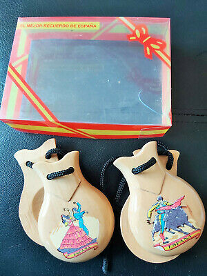 A Pair of Wooden Vintage Spanish Castanets