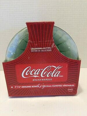"""Set Of 4 Embossed 7.5""""  Coca-Cola Clear Glass Bowls"""