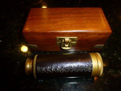 """6"""" Nautical Marine Leather Stitched Solid Brass Spyglass/Telescope in wooden Box"""