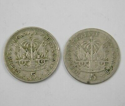 Lot of 2 Haiti 1901 1905 Coin 5 Centimes