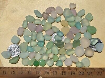 85 Genuine Surf Tumbled Seaglass Gems, Light Colors. Smalls/minis. Rounds. 2 UV