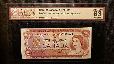 Bank of Canada 1974 $2 BC-47a Lawson-Bouey Original Tint (7.72M-9999999) in CUNC