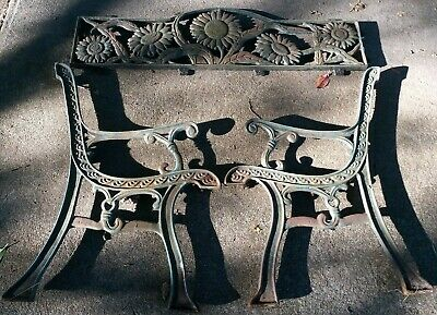 Park Bench Cast Iron Back Seat And Sides/Ends - Flowers/Floral.sunflowers