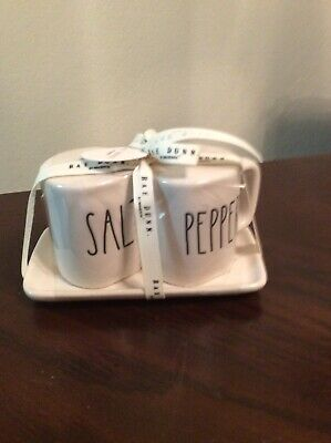 Rae Dunn LL SALT and PEPPER Shakers White Ceramic Shaker Set With Tray