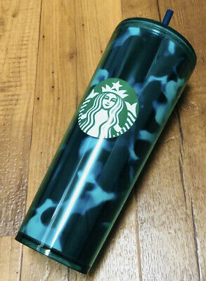 New Starbucks 2020 Summer Teal Turquoise Green Blue Wave Tumbler 24oz Venti Cup