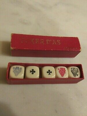 Vintage Poker Dias Dice - France - Orig Box - Excellent