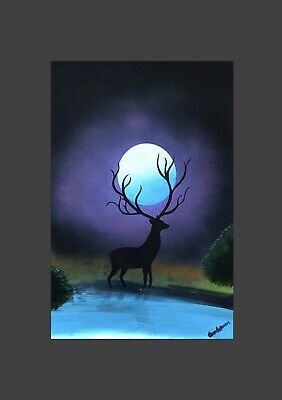norfolk artist painting, Moonlit stag wall art decor Hanging picture design a2