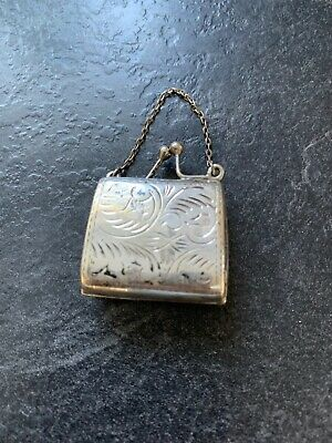 Stirling Silver Handbag - Opens With Chain - 3cms x 2.5cms