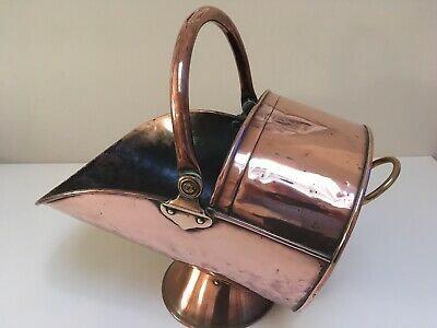 Antique Victorian Solid Copper Coal Scuttle Bucket