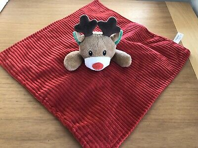 Tjm Red Cord Reindeer Christmas Comforter Soft Toy Rattle