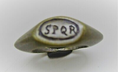 Detector Finds Ancient Roman Bronze Silvered Ring With 'Spqr' On Bezel