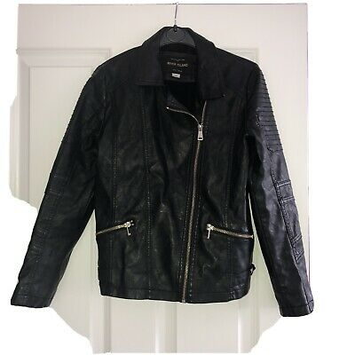 Girls Black Leather Look River Island Jacket Age 11 Yrs