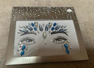 Ps. Primary Ice Queen Self Adhesive Face Gems Festival Blue Silver Stickers New