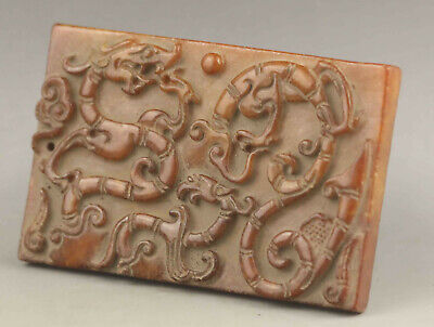 Chinese old natural jade hand-carved statue dragon phoenix pendant 3.4 inch