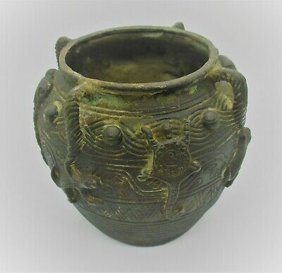Unresearched Ancient Near Eastern Bronze Pot Vessel With Snake Motifs