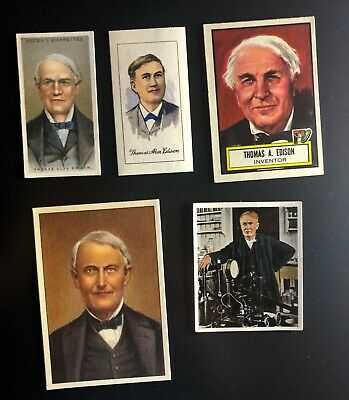 Lot of 5 Vintage Thomas Edison Cards, Tobacco, Ogden's, Topps