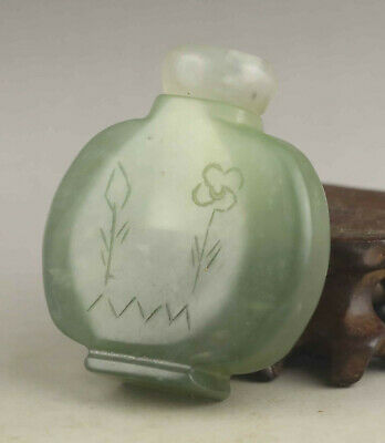 Chinese old natural jade hand-carved statue flower snuff bottle