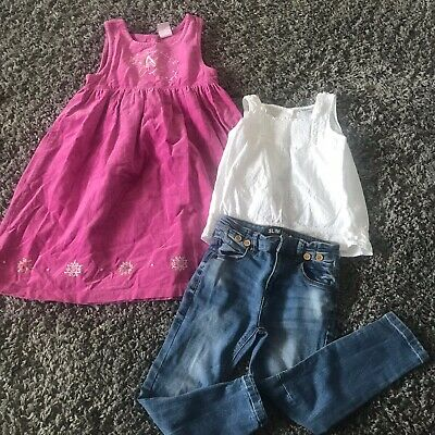 Age 4 Girls Bundle Dress Top And Jeans Next 2 Outfits 3 Pieces
