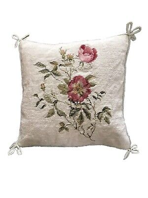 TAPESTRY CUSHION - Red Pink Roses, 33cms Square