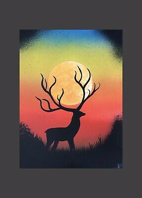 norfolk artist painting picture sunset stag decore wall art A4 design silhouette
