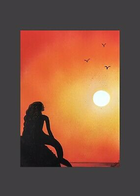 norfolk artist painting picture, sunset mermaid gift, fantasy Wall art Decor A4