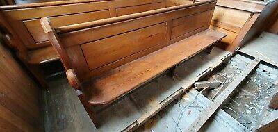 Antique 1830s 8 foot Welsh Chapel Pew, Solid Pitch Pine