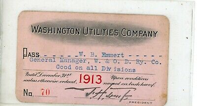 1913 Washington Utilities Company Railroad Pass